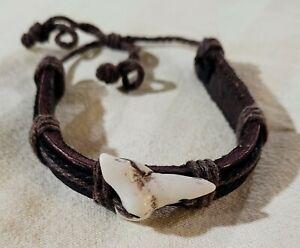 Shark Tooth Surfer Bracelet Shark Teeth Brown Adjustable Leather Bracelet MD