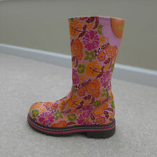 Oilily Girl's Pink Floral Leather Boots Size 32 Very Cute!! EUC Free shipping!