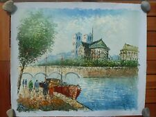 Ölgemälde von Burmem, Kirche mit Fluss und Schiff