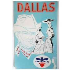 Vintage American Continental Commercial Airline Advertising Poster Dallas c.1960