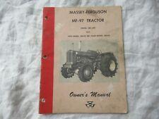 Massey Ferguson MF-97 MF97 tractor owner's operator's manual