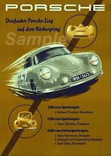 VINTAGE 1950's PORSCHE NURBURGRING MOTOR RACING A4 POSTER PRINT