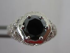 2.25CT NATURAL BLACK DIAMOND RING,ART DECO STYLE,APPRAISAL,FREE DIA TESTER SZ 5