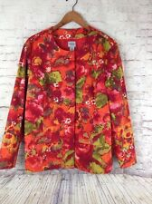 Chicos Jacket Size 3 Floral Leaves Lined Scoop Neck LS Colorful Button Up Pinks