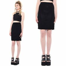 Vtg 90s Black EXCLUSIVELY MISOOK Stretch Knit Minimalist Bodycon Pencil Skirt L