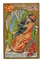 Vintage 1910's  Winsch Schmucker Halloween Postcard (Man and Woman with JOL)
