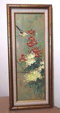 vintage original botanical floral Chinese cork wood veneer acrylic painting