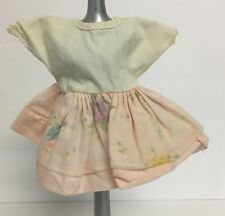 Vintage Tagged Created By Molly-E Brown Doll Dress w/ Sheer Att Apron 5 1/4""