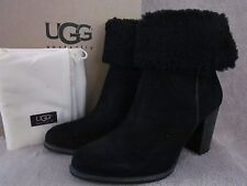 UGG Australia Charlee Black Suede Leather Boots Shoes US 8.5 EUR 39.5 NWB