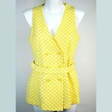 Jantzen Vintage Top Size 14 Yellow Plaid Tank Blouse Jacket 70s Mod Retro