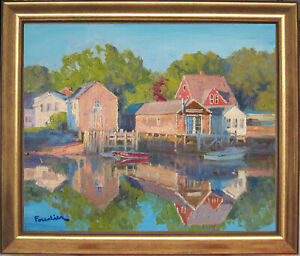 SUNSET IN KENNEBUNKPORT~MAINE~LISTED ARTIST~ORIGINAL OIL PAINTING MARC FORESTIER
