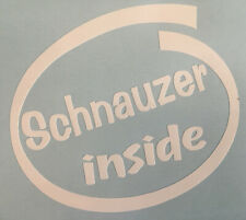 SCHNAUZER INSIDE DOG ON BOARD CAR WINDOW STICKER DECAL WHITE ALL COLOURS MADE