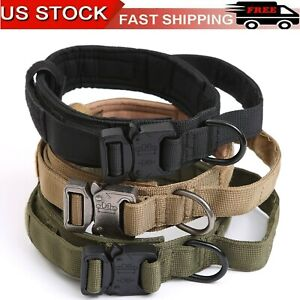 USA Tactical Military K9 Dog Collar Necklace Metal Buckle For L Dog Heavy Duty