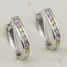 Crazy Nice Multi-Color CZ Jewelry Gold Filled Huggie Channel Lady Earrings H1809