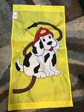 Fireman Dalmatian / Fire Station and Hose Large Handmade Decorative Flag