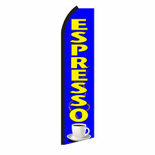Espresso Blue Advertising Sign Swooper Feather Flutter Banner Flag Only