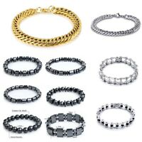 Men Stainless Steel Chain Cuff Bracelet Bangle Unisex's Wristband Jewelry Gifts