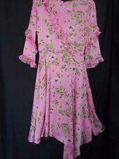 BNWT Pink Floral 'Frill & Flounce' Asymmetric Tea Dress by Primark Size UK 6