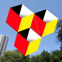 Outdoor Fun Sports For kids 3D magic cube box kite Single Line Good Flying NEW