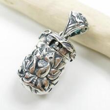 925 Sterling Silver Lotus Details Yoga Zen Prayer Box Locket Charm Pendant