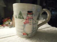 "(1) Christmas WINTER Maxcera ""SNOWMAN SLEDDING"" Coffee MUG Cup~CERAMIC"