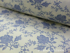 Blue Toile Fabric x 1 Metre - 100% Cotton Blue And Ivory Vintage Roses FREE POST