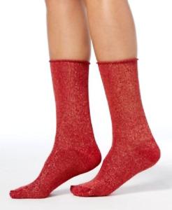 Hue Women's Metallic Roll-Top Socks Deep Red One Size