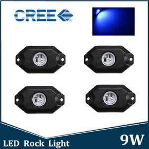4X 9W Cree Blue LED Rock Light Offroad Underglow Truck ATV SUV Trail Rig Bulb