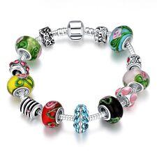 925 Silver Plated Glass Bead Chain Bracelet Bangle Charm Women European Jewelry
