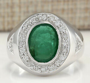 3.35 Carat Natural Emerald and Diamond 14K White Gold Engagement Ring