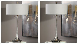 """TWO ALISO MODERN INDUSTRIAL LOOK CAST IRON XXL 31"""" TABLE LAMP UTTERMOST 27786"""