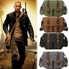 """14"""" Men Messenger Bag Vintage Canvas Leather Military Shoulder Laptop Bag 2019"""