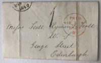 1849 Stampless Letter Edinburgh Paid Stamp