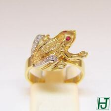 Brand New Diamond & Ruby Frog Ring in 14k 2-tone Gold, 22 points, Size 6.5