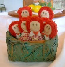 AAFA Vintage Set of 8 Hand Made RAGGEDY ANN DOLLS + Basket  Miniatures!