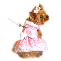 Doggie Design Polka Dot and Lace Dog Dress with Matching Leash XS-L
