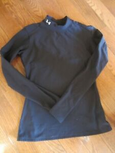 Under Armour Cold Gear Black Mock Turtle Neck Long Sleeve Top Size Youth Large