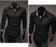 6097 New Fashion Mens Casual Luxury Stylish Slim Fit Shirts Black US Size S