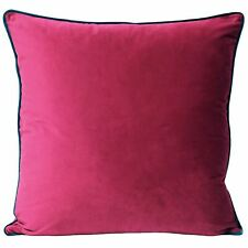 """MODERN SOFT VELVET PINK FUCHSIA TEAL PIPED THICK CUSHION COVER 22"""""""