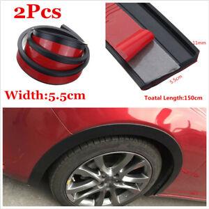 2x Car SUV Fender Flare Extension Wheel Eyebrow Moulding Trim Arch Strip 1.5m