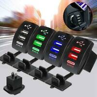Dual USB Port Charger Socket Outlet 3.1A Waterproof 12-24V LED for Car Auto
