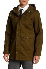 Topman Bonded Fleeceback Parka Jacket Khaki Green Hooded XS EUC