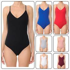 Women's Sexy Bodysuit Spaghetti Strap Cami Leotard Top Sleeveless Bodycon