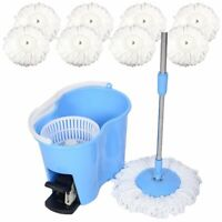 Microfiber Spin Mop Easy Floor Mop with Bucket and 8 Mop Heads 360 Rotating Head