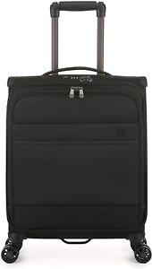 Antler Stirling Black Cabin Suitcase 35L Spinner Hand Luggage Soft Case -C1 4W