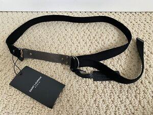 NWT Saint Laurent YSL Chain Maile Black D Ring Canvas Web Belt Sz 75 US 30 $495