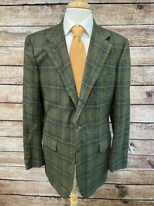 Kiton 100% Cashmere Green Blue Plaid Sportcoat 44L (54 EUR) Jacket Blazer