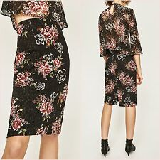 Zara Black Red Floral Lace Pencil Fitted Slit Skirt Size XS 6 UK US 2 Blogger ❤