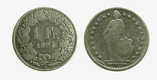 pcc2099_5)  Svizzera Switzerland 1 Franco Franc 1894 A Helvetia MB CLEANED