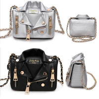 Women Rivet PU Leather Handbag Chain Shoulder Bag Jacket Messenger Crossbody New